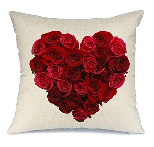 DT-CHARGER Love Pillow Covers Decorative Cotton Pillowcase 45 x 45 cm (Valentines Red Heart Pillow Covers Be Mine) (Roses Red Valentines)