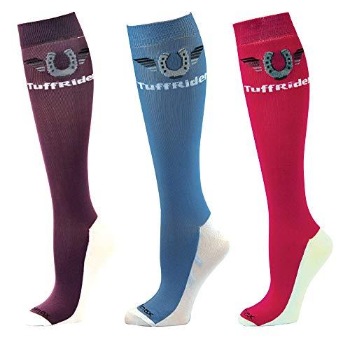 TuffRider Coolmax Boot Socks - 3 Pack - Lavender/Cashmere Blue/Hot Pink -