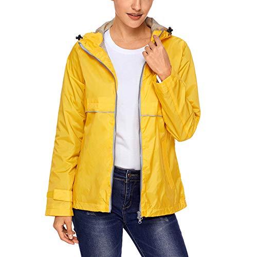 - SUNDAY ROSE Women Rain Jacket Lightweight Waterproof Raincoat Hooded Windbreaker,Yellow,Size M