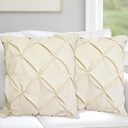 Precious Star Linen Pillow Sham Set of 2 Pinch Plated/Pintuck Pillow Cover Sham Solid Design 625 Thread Count Natural Cotton, Hypoallergenic (Ivory Solid, Standard (20'' x 26'')) from Precious Star Linen