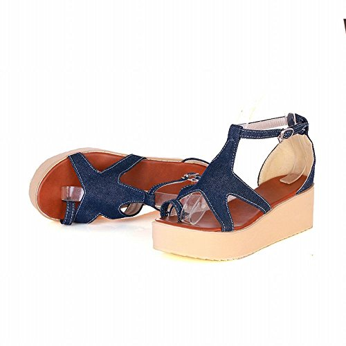 ... Carolbar Mote Kvinners Toe-strap Spenne T-stropp Uformell Komfort  Plattform Sandaler Dypblå ...