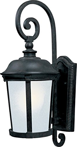 Maxim 86094FSBZ Dover EE 1-Light Outdoor Wall Lantern, Bronze Finish, Frosted Seedy Glass, GU24 Fluorescent Fluorescent Bulb , 60W Max., Damp Safety Rating, Standard Dimmable, Glass Shade Material, 1344 Rated ()