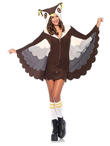 Leg Avenue Women's Cozy Owl Costume, Brown, (Halloween Owl Costumes)