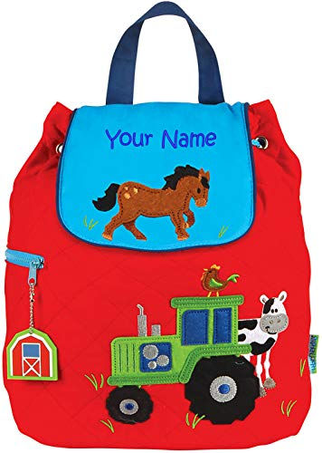 Personalized Stephen Joseph Boy Farm Tractor Quilted Backpack with Embroidered Name