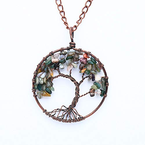 - cotton Boutique tree life necklace pendant chain literary gem long retro sweater accessories 58 (india agate