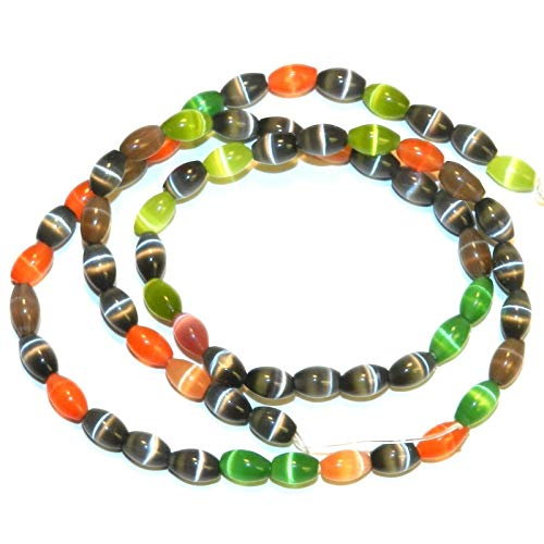 Fiber Optic Craft Beads - Bead Jewelry Making Assorted Color Mix 6mm Tapered Oval Cat's Eye Fiber Optic Glass Beads 16