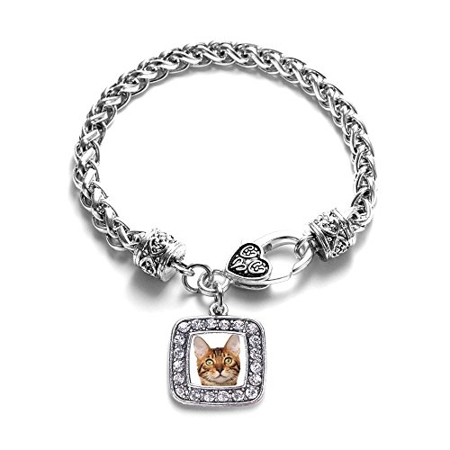 Bengal Cat Classic Silver Plated Square Crystal Charm Bracelet