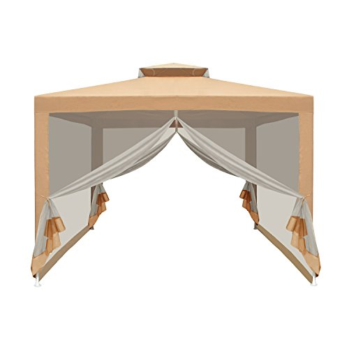 ALEKO GZ2RWN10X10SD Gazebo Canopy with Netting Mesh Walls Picnic Sun Shade Mosquito Net 10 x 10 x 6.5 Feet - Picnic Tent Net With