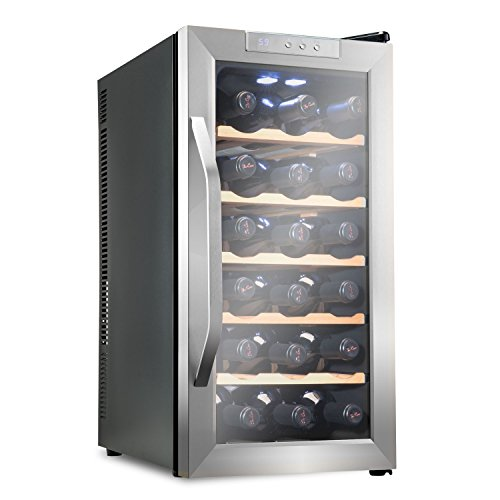Ivation Premium Stainless Steel 18 Bottle Thermoelectric Wine Cooler/Chiller Counter Top Red & White Wine Cellar w/Digital Temperature, Freestanding Refrigerator Glass Door Quiet Operation Fridge