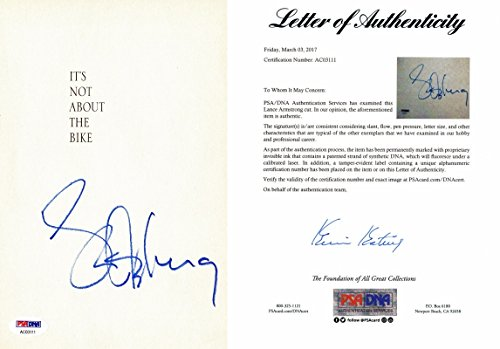 Lance Armstrong Signed - Autographed Book Page - Cycling Legend - PSA/DNA FULL Letter of Authenticity (COA)