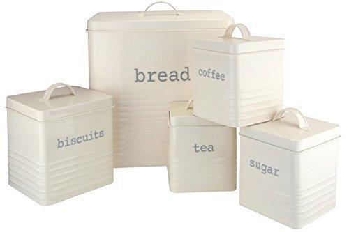 Ehc Set of 5 Rectangular Kitchen Storage, Cream ( Set Includes - Tea,Sugar,Coffee,Biscuit & Bread Bin) Elite Housewares