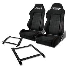 Pair of RSTRSBK Racing Seats+Mounting Bracket for Mazda Miata w/Bucket Seat