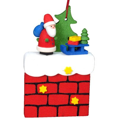 "picture of 10-0408 - Christian Ulbricht Ornament - Santa on Chimney with Sliegh - 3""""H x 2""""W x .75""""D"