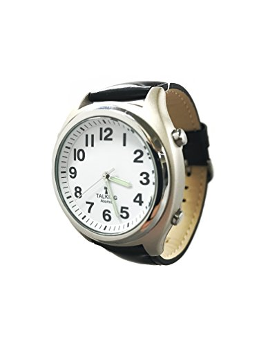 Atomic Talking Watch for The Blind with Extra Spare Battery and Microfiber Cleaning Cloth (Black Leather Central Standard Time) ()