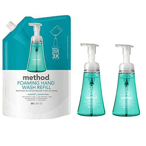 Method Foaming Hand Soap Bundle with Two 10 oz. Dispensers & One 28 oz. Refill | Naturally Derived Hand Soap (Waterfall) - Waterfall Traditional
