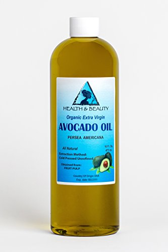 Avocado Oil Extra Virgin Organic Unrefined by H&B OILS CENTER Raw Cold Pressed Premium Quality Natural Pure 16 oz