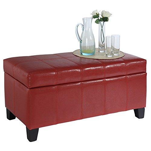 Worldwide Homefurnishings Inc. 402-449RD Faux Leather Storage Ottoman, Red