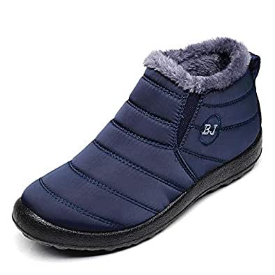 Women Warm Ankle Snow Boots Fur Lining Thickening Slip On Winter Shoes Blue US 5.5(37)