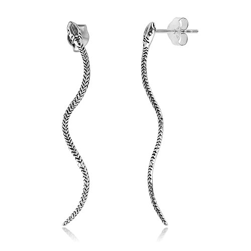 (925 Oxidized Sterling Silver Detailed Snake Serpent Long Post Stud Earrings 1.7 inches)