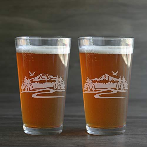 MOUNTAIN HIKING TRAIL Beer Glasses set of 2 - Mt Hood or Mt Rainier ()