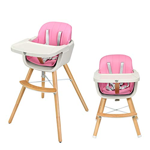 BABY JOY Convertible High Chair, Wooden 3 in 1 Multi-Functional Highchair with Adjustable Legs, 5-Point Seat Belt, PU Cushion, Adjustable Tray and Detachable Footrest for Baby and Infants (Pink)