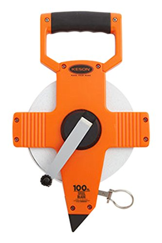 Keson NR10100H Nylon Coated Steel Blade Measuring Tape with Zero Point at Tape End and Hook End (Graduations: 1/10, 1/100), 100-Foot ()