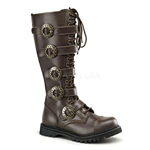 Demonia by Pleaser Men's STEAM-20 Steampunk Brown Leather Boot 4 B(M) US