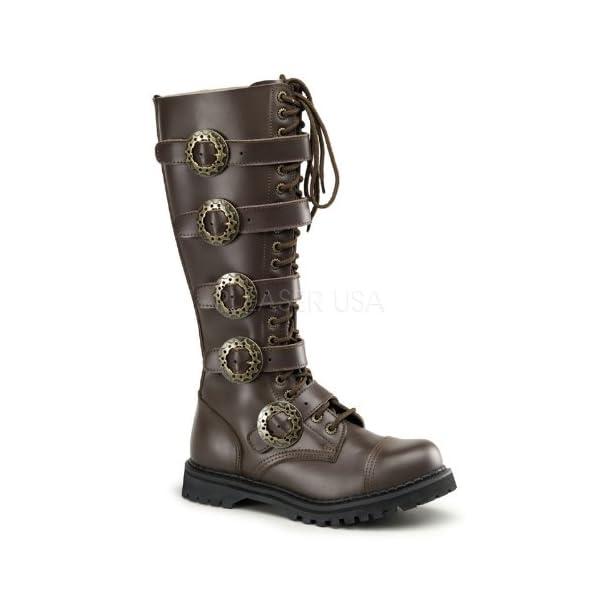 Demonia by Pleaser Men's STEAM-20 Steampunk Brown Leather Boot 4 B(M) US 3