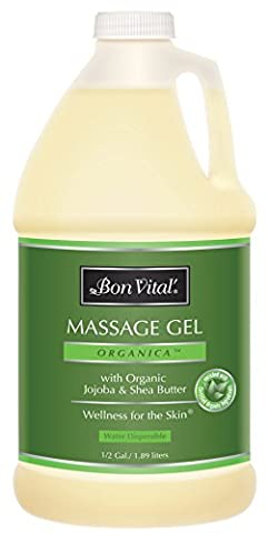 Bon Vital' Organica Massage Gel Made with Certified Organic Ingredients for Earth-Friendly and Relaxing Massage, Moisturizer for Natural Massage that Hydrates and Softens Skin, 1/2 Gal - Bon Vital Organica Lotion