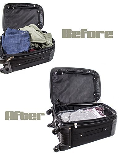 Best 10-Pack Travel Space Saver Bag Set By Pak-Logic: Extra-Durable, Strong & Weather-Proof Roll-Up Compression Packing Organizers With No Vacuum/Pump Needed-Eco-friendly Home/Luggage Storage Solution