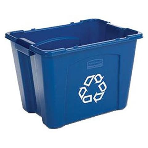 Rubbermaid Commercial Recycling Bin, 14 Gallon, Blue (FG571473BLUE) (:2 BINS) (Enclosed Av Rack)