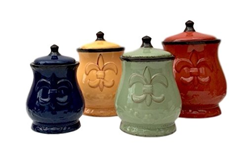 Tuscany Colorful Hand Painted Fleur De Lis Canisters, Set of 4, 82001 by ACK (Tuscany Kitchen Canisters)