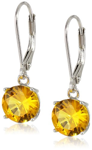Sterling Silver 8mm Round Created Yellow Sapphire 4-Prong Leverback Dangle Earrings