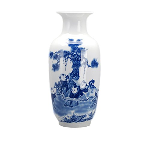 Porcelain Vase Set (Dahlia Chinese Blue and White Porcelain Happy Children Tall Flower Vase, 15 Inches, Rouleau Vase)