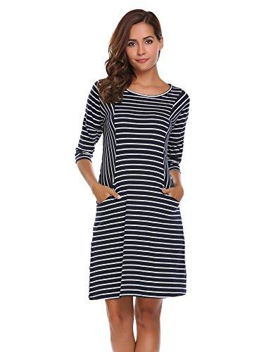 COSBEAUTY Women's A Line T-Shirt Dress 3 4 Sleeve Striped T-shirt Dress,Medium,Blue White (Striped 3/4 Sleeve Shirt)