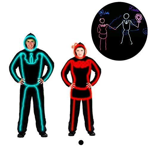 DHTW&R Dressed Couple Female Glowing Clothes Fluorescent Dance Show Costume EL Cold Light Battery Powered Lights up Stick Figure Man Fancy Dress Party Party -