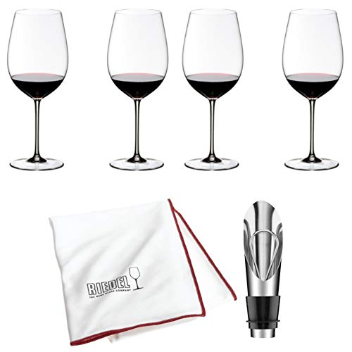 Riedel Sommeliers Bordeaux Grand Cru Wine Glass, Set of 4 Includes Wine Pourer with Stopper and Riedel Polishing ()