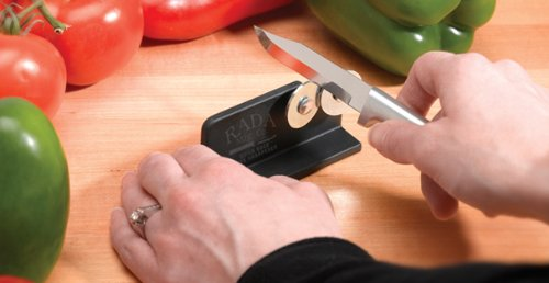 Rada Cutlery Quick Edge Knife Sharpener – Stainless Steel Wheels Made in the USA 4 KEEP KNIVES RAZOR SHARP – Keeping knives sharp is important for safety and optimal performance.  This easy to use knife sharpener will keep all your knives razor sharp. STAINLESS STEEL WHEELS – The hardened, high carbon stainless steel wheels intersect so you can sharpen both sides of the blade at the same time. PORTABLE AND STURDY – The black nylon base is easy to hold in place while sharpening.  The knife sharpener is portable making it ideal for hunters and fishermen that need to keep their field knife sharp.
