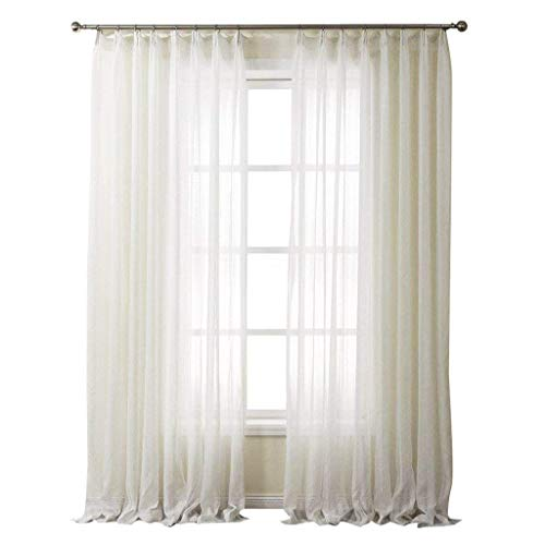 (PASSENGER PIGEON Striped Solid White Sheer Curtains Double Pleated Top Window Treatments Draperies Panels with Multi Size Custom 84