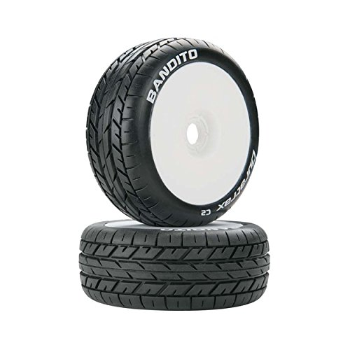 Duratrax Bandito 1:8 Scale RC Buggy Tires with Foam Inserts, C2 Soft Compound, Mounted on White Wheels (Set of 2) ()