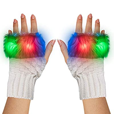 LED Light Up White Fuzzy Half Finger Gloves - For Christmas, Birthday, Glow in the Dark Party, Raves EDM: Clothing