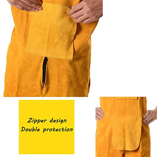 LAIABOR Welding Apron bib Jumpsuit Overalls Protective Foot Safety Apparel for Electrical Weld, Cutting, Casting, Lathe, Steel, Smelting Retardant wear Resistant,Yellow,XXL by LAIABOR (Image #2)
