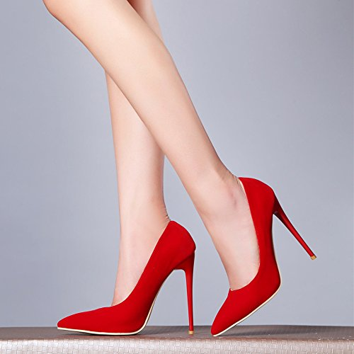 SexyPrey Frosted Zehe Feste Pumps Damen spitze dünne Red Heels formale High qBqrf