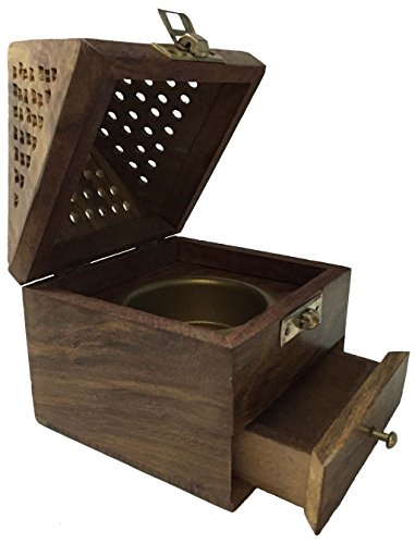 Vrinda® Wooden Pyramid Cone/Charcoal Burner with Storage Net Carving