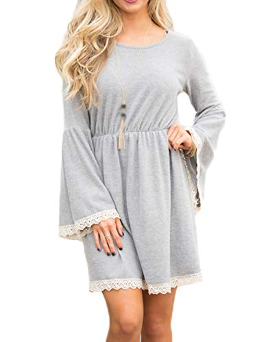 Waist JadeRich Flare s Elastic Solid Sleeve Grey Women Crewneck Lace Dress xHq0UCwAH