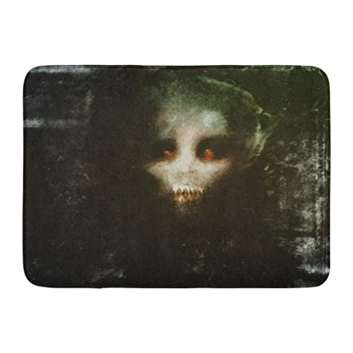 Emvency Doormats Bath Rugs Outdoor/Indoor Door Mat Face Horror Scary Vampire Spooky Monster Abstract Anxiety Artistic Bathroom Decor Rug 16