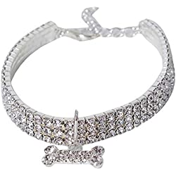 Toporchid Exquisite Bling Crystal Dog Collar Puppy Pet Shiny Necklace Collar Collars(white,M)