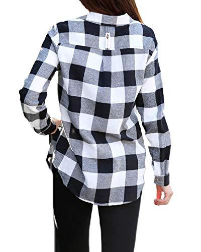 ACHIOOWA Blus dam långärmad rutig vardaglig skjorta knapp ner överdimensionerad skjortblus långärmad tröja Tunika