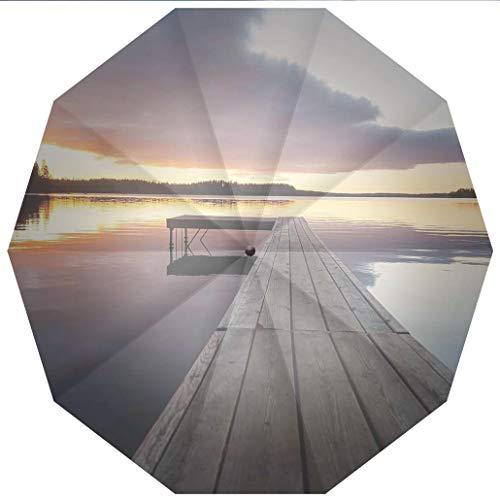 10 Ribs Travel Umbrella UV Protection Auto Open Close Art,View of Sunset over an Old Oak Deck Pier and Calm Water of the Lake Horizon Windproof - Waterproof - Men - Women -Lightweight- 45 inches