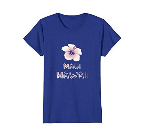 Womens Maui Hawaii Hibiscus Flower T Shirt Medium Royal Blue